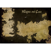 Affiche sur Toile Carte Antique Game of Thrones Westeros et Essos - 85 x 120cm