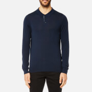 Michael Kors Men's Merino Long Sleeve Polo Shirt - Midnight