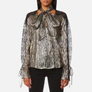 Perseverance London Women's Metallic Chiffon Lace Panel Blouse - Black