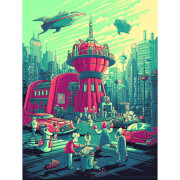 Futurama - Zavvi Exclusive Dan Mumford Silkscreen with Authorized Signature and Certificate of Authenticity - Red and Blue-Green Variant