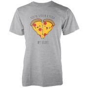 Kawaii You Stole A Pizza My Heart Grey T-Shirt