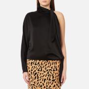Diane von Furstenberg Women's One Shoulder Knotted Blouse - Black