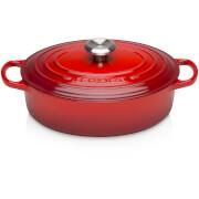 Le Creuset Cast Iron Oval Shallow Casserole Dish - 27cm - Cerise