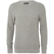Jack & Jones Originals Men's Panel Rib Raglan Jumper - Light Grey Marl