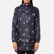 Joules Women's Golightly Waterproof Pack-Away Parka - Marine Navy Cosy Dogs