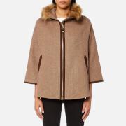 Joules Women's Contessa Tweed Cape with Faux Fur Trim - Camel Herringbone