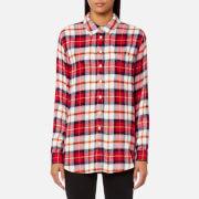 Joules Women's Laurel Long Line Shirt - Red Check