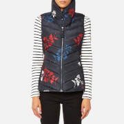 Joules Women's Larkhill Print Collared Padded Gilet - Marine Navy Fay Floral