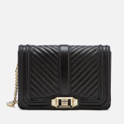Rebecca Minkoff Women's Chevron Quilted Small Love Cross Body Bag - Black