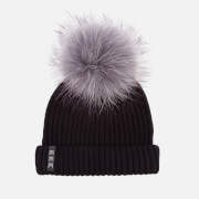 BKLYN Women's Merino Wool Hat with Grey/Purple Pom Pom - Black
