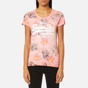 Superdry Women's Vintage Logo Hibiscus Overdyed T-Shirt - Overdyed Phosphorescent Coral