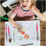 Doodle Plate Placemat to Go - Colour Your Own Placemats with 10 Wash Out Pens