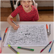 Doodle Dinosaur Placemat to Go - Colour Your Own Placemats with 10 Wash Out Pens