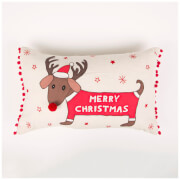 Sass & Belle Merry Dachshund with Antlers Cushion