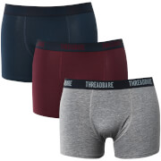 Lot de 3 Boxers Acton Threadbare - Bleu Marine / Bordeaux