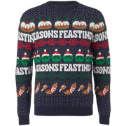 Threadbare Men's Seasons Feastings Christmas Jumper - Navy