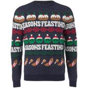 Threadbare Seasons Feastings Kersttrui - Marineblauw