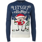 Pull de Noël Homme Elfed Up Threadbare  - Bleu Marine
