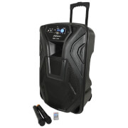 QTX Busker Bluetooth PA System with 2x VHF Mics and Built-in Trolley - Black (15 Inch Driver)