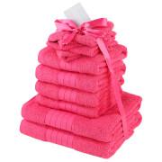Highams 100% Cotton 10 Piece Towel Bale (500GSM) - Fuchsia