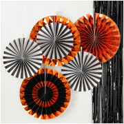 Ginger Ray Orange Foiled Mixed Pack Fan Decorations - Pumpkin Party