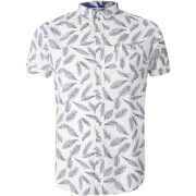 Brave Soul Men's Antonio Feather Print Short Sleeve Shirt - White