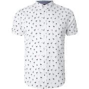 Brave Soul Men's Braun Bird Print Short Sleeve Shirt - White