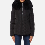Froccella Women's Short Cheveron Big Fur Collar Coat - Black/ Black Fur