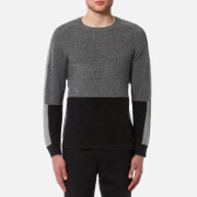 Folk Men's Panel Texture Crew Neck Jumper - Greys Mix