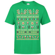 Nintendo Super Mario Mario Bad Guys Christmas Green T-Shirt