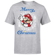 Nintendo® Super Mario White Wreath Merry Christmas T-Shirt - Grau