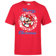 Nintendo® Super Mario White Wreath Merry Christmas T-Shirt - Rot