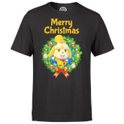 Nintendo Animal Crossing Merry Christmas Wreath Black T-Shirt