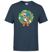Nintendo® Super Mario Luigi Christmas Present Wreath T-Shirt - Navy