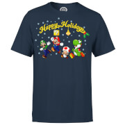 Nintendo® Super Mario Good Guys Happy Holidays T-Shirt - Navy