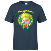 Nintendo® Super Mario Peach Merry Christmas Wreath T-Shirt - Navy