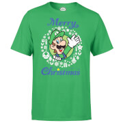 Nintendo® Super Mario Luigi White Wreath Merry Christmas T-Shirt - Grün