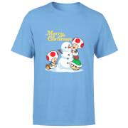 Nintendo Super Mario Toad Snowman Merry Christmas Blue T-Shirt