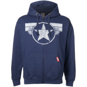 Marvel Men's Cap Logo Zip Hoody - Heather Navy