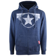 Marvel Men's Logo Distress Zip Hoody - Heather Grey