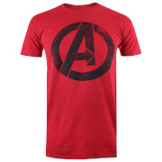 Marvel Men's Avengers Distressed Logo T-Shirt - Heather Red