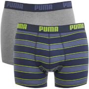 Lot de 2 Boxers Rayés Rugby Puma - Bleu / Gris