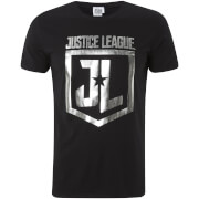DC Comics Men's Justice Foil Logo T-Shirt - Black