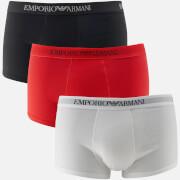 Emporio Armani Men's Pure Cotton 3 Pack Trunks - Bianco Rosso Nero
