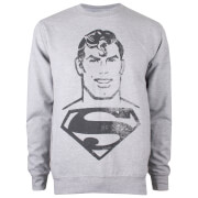 DC Comics Men's Superman Acid Wash Sweatshirt - Grey Marl
