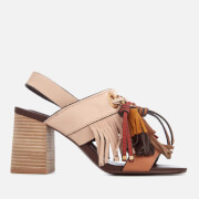 See By Chloé Women's Leather Tassel Heeled Sandals - Beige