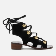 See By Chloé Women's Suede Lace Up Sandals - Black