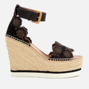 See By Chloé Women's Suede Wedged Sandals - Black