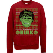 Sweat Homme Visage L'Incroyable Hulk Rétro - Marvel Comics - Rouge