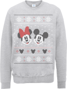 Disney Mickey Mouse Christmas Mickey And Minnie Grey Christmas Sweatshirt